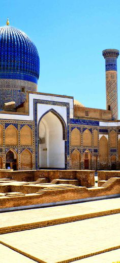 Samarkand City | Uzbekisthan Islamic Architecture, Beautiful Architecture, Art And Architecture, Architecture Background, Islamic City, Islamic World, Islamic Paintings, Blue Mosque, Colourful Buildings