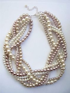 Ivory white Champagne and bronze braided pearl necklace