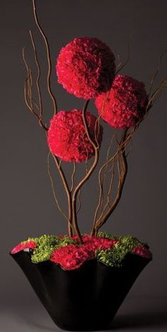 Three hot pink carnation spheres balanced with curly willow and a tight carpet of green anastasia and hot pink carnations make this piece modern and edgy.I'm not usually a fan of carnations, however this arrangement is one that pleases the eye. Arte Floral, Deco Floral, Diy Flowers, Flower Decorations, Wedding Flowers, Spring Flowers, Stage Decorations, White Flowers, Wedding Bouquets