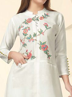 Best 12 Shop Cream color festive kurti online from India. Embroidery On Kurtis, Kurti Embroidery Design, Embroidery Fashion, Embroidery Saree, Dress Neck Designs, Designs For Dresses, Blouse Designs, Kurti Sleeves Design, Kurta Neck Design