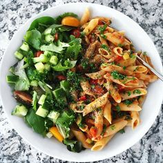 Today's lunch  A big beautiful bowl of brown rice veggie pasta with mixed green salad  There's just something so amazing about this simple combo! #pastaislife #simplicityiskey #plantbased