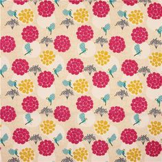 extra wide echino poplin fabric yellow flower dot birds 2