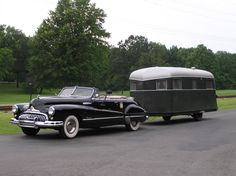 cool car and camper 1948 Buick Roadmaster...this is the first car I remember riding in with my parents