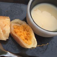 Golden thread roti with condense milk dip.