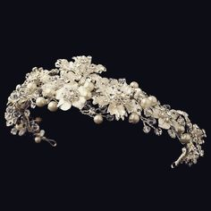 """The Susannah"" Silver Swarovski Floral Headband"