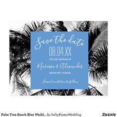 Palm Tree Beach Blue Wedding Save the Dates Postcard