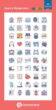 Sport & Fitness Vol.4  Icon Pack - 50 Colored Outline Icons Bullet Journal Icons, Gym Icon, Fitness Icon, Element Symbols, Doodle Ideas, Sport Icon, App Covers, Social Media Icons, Pop Up Cards