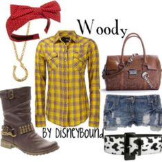 Knee high brown boots, dark denim skinny jeans, yellow plaid shirt, red bow.  Must for WDW trip