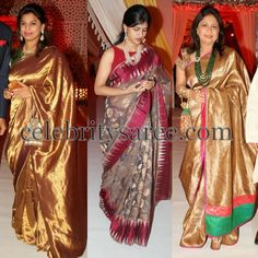 Celebrities in Gold Silk Sarees