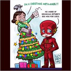 The Flash & Cisco Christmas by Lord Mesa - visit to grab an unforgettable cool Super Hero T-Shirt!