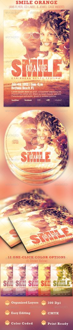 Smile Orange Event Flyer and CD Template - $7.00