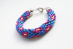 Multicolor kumihimo bracelet blue fuchsia neon by elfinadesign Braided Bracelets, Friendship Bracelets, Handmade Jewelry, Unique Jewelry, Handmade Gifts, Flower Bracelet, Summer Trends, Paracord, Passion
