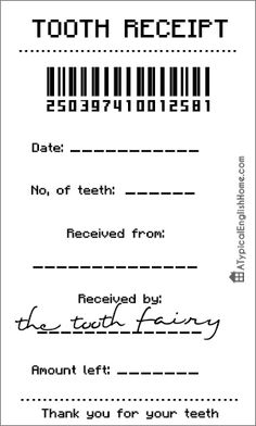 A Typical English Home: Free Tooth Fairy Receipt Template (Editable) - kind of like the notes all the tooth fairies used to leave you kids. Tooth Fairy Receipt, Tooth Fairy Doors, Tooth Fairy Money, Tooth Fairy Certificate, Just In Case, Just For You, Little Mac, Receipt Template, Tooth Fairy Pillow