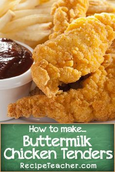 Learn how to make the best damn buttermilk chicken tenders ever. Golden, delicious flour based breading crisps around buttermilk marinated chicken strips. Chicken Batter, Baked Chicken Strips, Chicken Strip Recipes, Chicken And Chips, Chicken Tender Recipes, Fried Chicken Recipes, Homemade Chicken Strips, Buttermilk Fried Chicken Tenders, Air Fryer Chicken Tenders