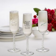 Personalized Champagne Flute Wedding Favors - A braided stem sets this elegant glass favor apart from the rest. Each personalized champagne flute can be custom-printed with your choice of imprint color, design, names and event date. Champagne Flute Favors, Stemless Champagne Flutes, Personalized Champagne Flutes, Wedding Champagne Flutes, Personalized Wedding Favors, Champagne Glasses, Toasting Flutes, Personalized Gifts, Wedding Shower Favors
