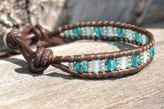 Single wrap bracelet Facetted Czech glass beads by SinonaDesign, $29.00