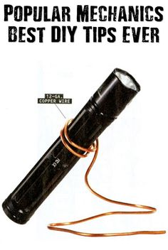 Popular Mechanics Best DIY Tips Ever - How many times have you tried to hold a flashlight and something else, balancing them precariously, clutching it awkwardly in your teeth or trying to hang the light off of something just so to get some light on the subject? Check this tip out and 100+ more from over the last 110+ years of Popular Mechanics.