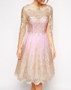Chi Chi London | Chi Chi London Premium Metallic Lace Prom Dress with Bardot Neck at ASOS