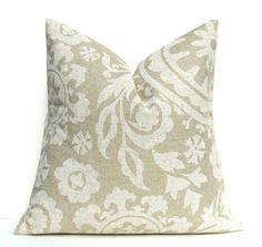 Throw Pillow Cover ONE 18x18. Cream Pillow Suzani Pillow. Burlap Pillow. Taupe Pillow. Printed Fabric both sides. Cushion Covers