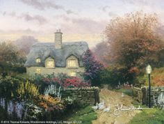 Open Gate, Sussex by Thomas Kinkade     Open gates are an invitation to visit, especially when lights glow warmly within an English cottage. If you're in the mood to chat, you might wander up the rutted lane and knock briskly on the old, weather-worn door of this charming cottage, Open Gate, Sussex.  — Thomas Kinkade