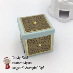 Click through to stampcandy.net for details! Stampin' Up!, Frosted Medallions, Gold Foil Sheets, Metallic Enamel Shapes, Soft Sky, Chocolate Chip, Versamark, Embossing Buddy, Gold Stampin' Emboss Powfer, Heat Tool, Fast Fuse, Stamp Candy
