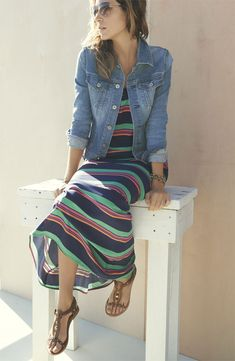 Simple Look: Maxi Dress, Jean Jacket Spring Sandals