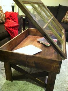 window table made out of old window pane and heart pine wood!