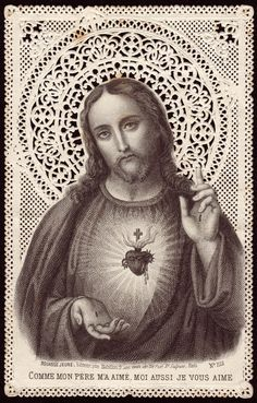 Sacred Heart of Jesus Vintage Holy Cards, Religion Catolica, Jesus Painting, Postage Stamp Art, Blessed Mother Mary, Heart Of Jesus, Holy Mary, Prayer Book, Prayer Cards