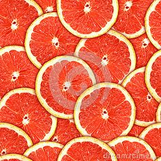 Seamless pattern of red grapefruit slices
