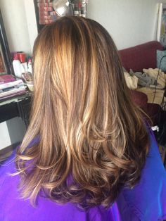 Medium brown with honey blonde highlights
