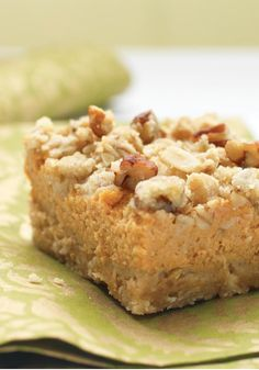 Pumpkin Pie Bars — Crunchy oat-nut crust, cream cheese in the filling and sweet crumbs combine to take traditional pumpkin pie recipes to a new and even more delicious level.