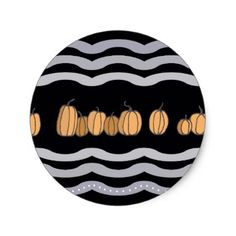 Pumpkins and Violet Waves Classic Round Sticker - thanksgiving stickers holiday family happy thanksgiving