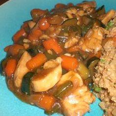 Stir-Fried Vegetables with Chicken or Pork Allrecipes.com