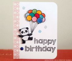 card critters panda pandas Sketchy Letters alphas and Pandamonium from Mama Elephant - balloon balloons Happy Birthday Cards Handmade, Creative Birthday Cards, Cumpleaños Diy, Birthday Card Drawing, Mama Elephant Stamps, Art Drawings For Kids, Cards For Friends, Kids Cards, Birthday Greetings