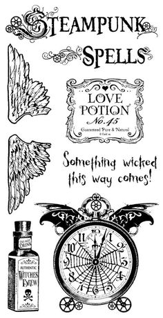 """a mighty weird combination of stuff: steampunk and MacBeth? Plus, """"witches"""" is missing the apostrophe. Steampunk Spells Cling Stamp 1 by Hampton Art! Graphic 45, Papel Vintage, Etiquette Vintage, Hampton Art, Halloween Labels, New Sticker, Tampons, Digi Stamps, Copics"""