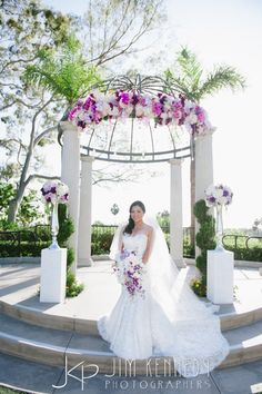 Beautiful Bride With Long Veil Purple And White Wedding Newport Beach Marriott Photos