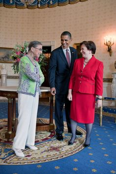 President Barack Obama visits with Supreme Court Justice Ruth Bader Ginsburg and newly confirmed Supreme Court Justice Elena Kagan in the Blue Room of the White House, prior to Kagan's confirmation reception in the East Room, Aug.