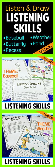 Great for inside recess!  Listen and follow directions with these LISTEN & DRAW lessons. Great way to evaluate listening skills in a non-threatening, fun format.  Also useful for oral language development, ESl students, add to your sub plans, quick formative assessment.  Used by classroom teachers, ESL teachers, music teachers, school counselors, special education teachers, and more! Perfect for warm up activities!  paid