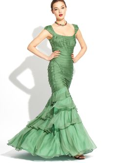 THEIA Pleated Ruffle Gown- This dress would loook amazing on my skin tone!