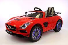 12V Battery Power R/C Mercedes SLS AMG LED Wheels Ride On Car RED
