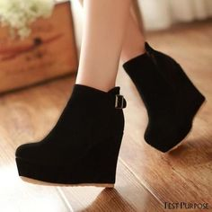 Wedge Ankle Boots, High Heel Boots, Heeled Boots, High Heels, Ankle Booties, Boot Heels, Wedge Heels, Dr Shoes, Kawaii Shoes
