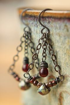 Czech Picasso Mushrooms, seeds, and teardrop beads wire wrapped and strung on copper wire.  #earringshandmade