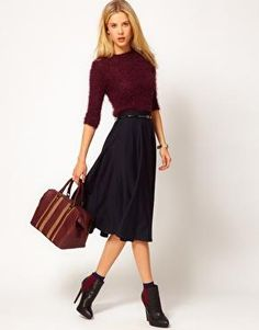 Great Look With The Booties. LoVe the merlot color...