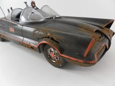 1966 Batmobile 1/24 scale model car Rusted and Junked in black , red and rust