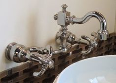 Perfect for vessel sinks! Bathroom Faucets, Sinks, Showroom, Wall Mount, Cool Stuff, Home Decor, Bath Taps, Decoration Home, Utility Room Sinks
