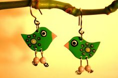 Charming green dangle bird earrings Green by HorakovaDesigns, $21.00