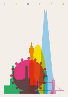 """Galería de Arte y Arquitectura: Coloridos Carteles muestran la """"Silueta de Cada…"""
