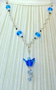 Blue Bird Lampwork Necklace