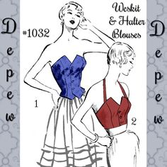 Vintage Sewing Pattern Strapless Halter top Weskit 1950's Style Multi Size Depew 1032 -INSTANT DOWNLOAD-