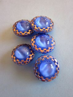 Vintage blue glass buttons with gold accents